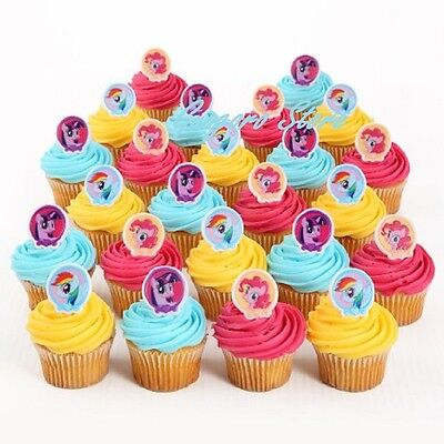 My Little Pony 24 Birthday Cupcake Rings Bag Fillers Party Supply Favors - My Little Pony Rings