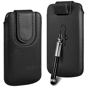 Magnetic PU Leather Pull Tab Flip Case & Stylus For Vodafone Phones