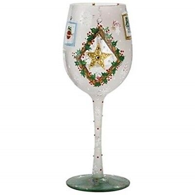 Lolita Frosted Window Panes Wine Glass Retired Rare Christmas