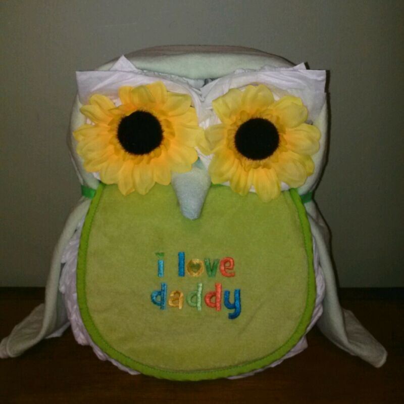 Owl Diaper Cake Baby Shower Gift Centerpiece for Baby Girl/ Boy Keepsake