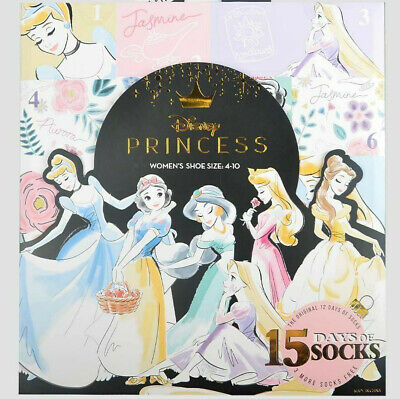 Women's Disney PRINCESS 15 Days of Socks Advent Calendar Gift Lot