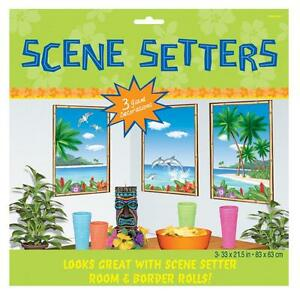 3 Large Beach View + Palm Tree Scene Setters Hawaiian Tropical Party Decorations