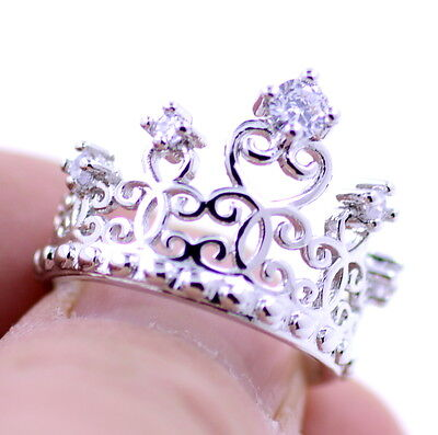 Silver tone cutout crown / tiara ring with crystal, UK Size -