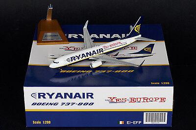 Ryanair B737 800 Reg Ei Efp   Yes Europe   Jc Wings 1 200 Diecast Models  Xx2929