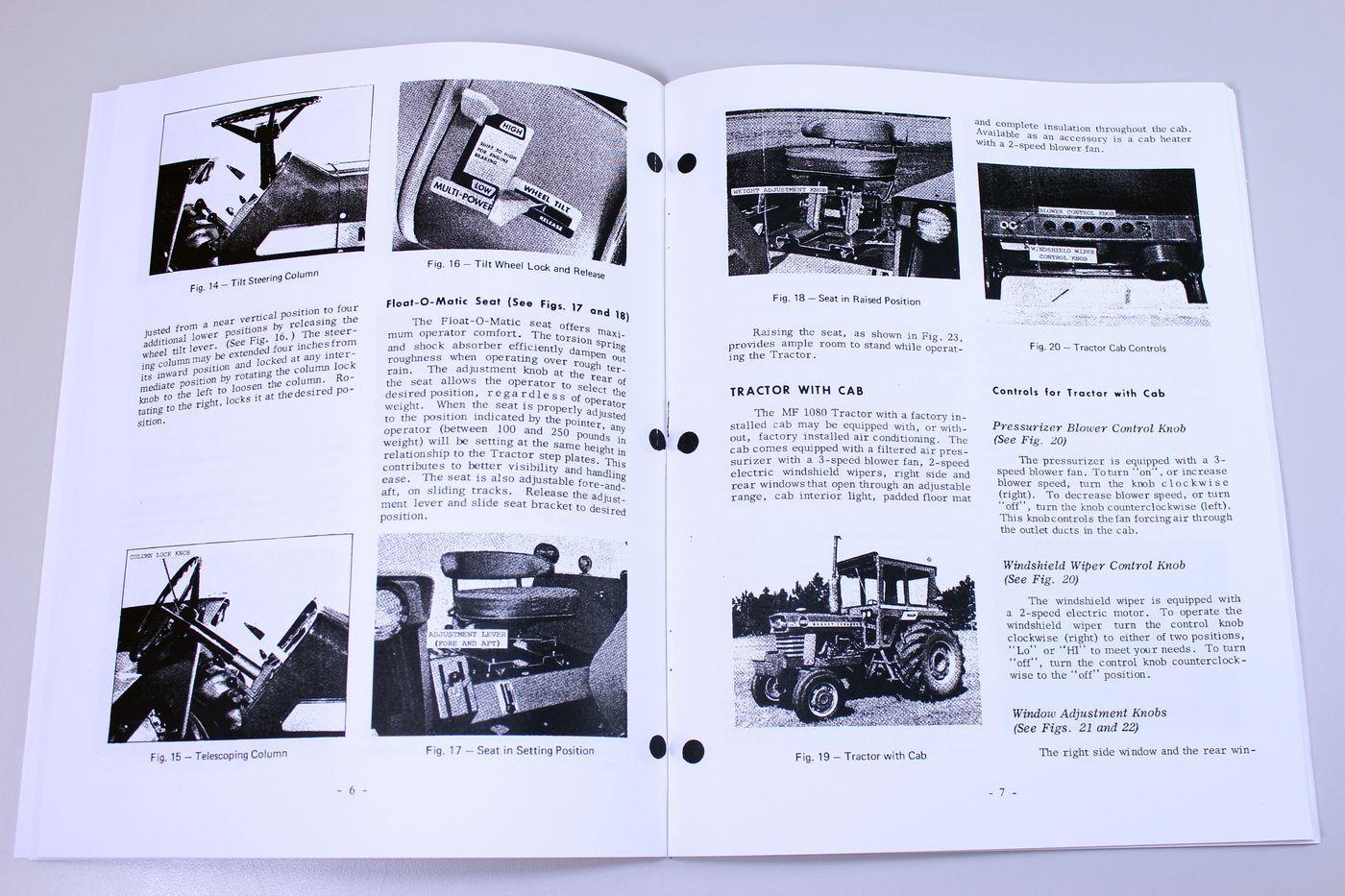 3 of 8 Massey Ferguson Mf 1080 Tractor Owners Operators Manual Maintenance  Operations