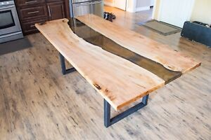 Live Edge Maple & Resin River Table (Dining Table)