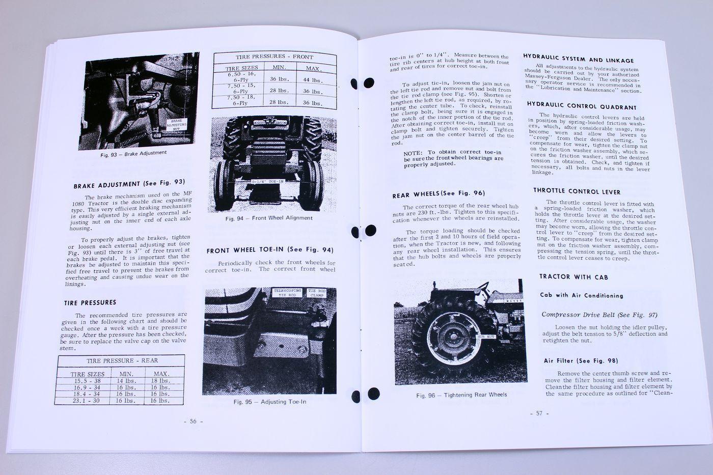 7 of 8 Massey Ferguson Mf 1080 Tractor Owners Operators Manual Maintenance  Operations