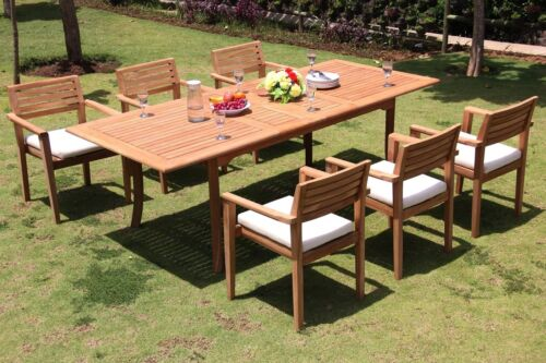 "7-piece Outdoor Teak Dining Set: 94"" Rectangle Table, 6 Stacking Arm Chairs Mont"