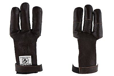 Buck Trail Archery Traditional Leather Draw Hand Glove Dark Brown Flat Long