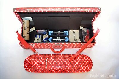 Rare Limited Edition BNWT Louis Vuitton Supreme designer skateboard and trunk