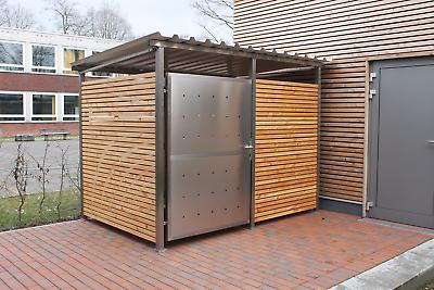 Fahrradgarage Mülltonnenhaus Überdachung Gerätehaus Gr. 1 m. Holzverkleidung