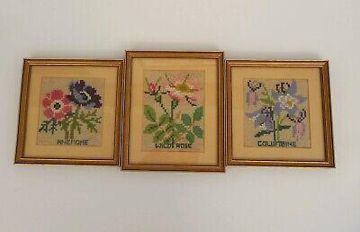 Vintage Framed and Glazed Set of 3 Floral Tapestries.Anemone,Columbine,Wild Rose