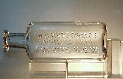 W.H.HUDSON.M.P.S MEDICAL HALL COROWA N.S.W 2 OZ RARE CHEMIST OLD BOTTLE c1901