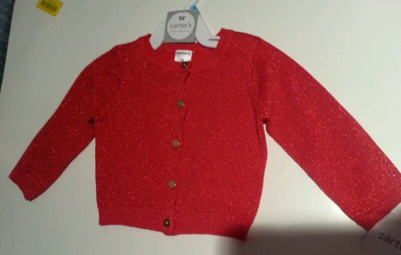 Infant Girls Carters Brand Red Sparkle Sweater Cardigan Size 3 6 9 24 Months