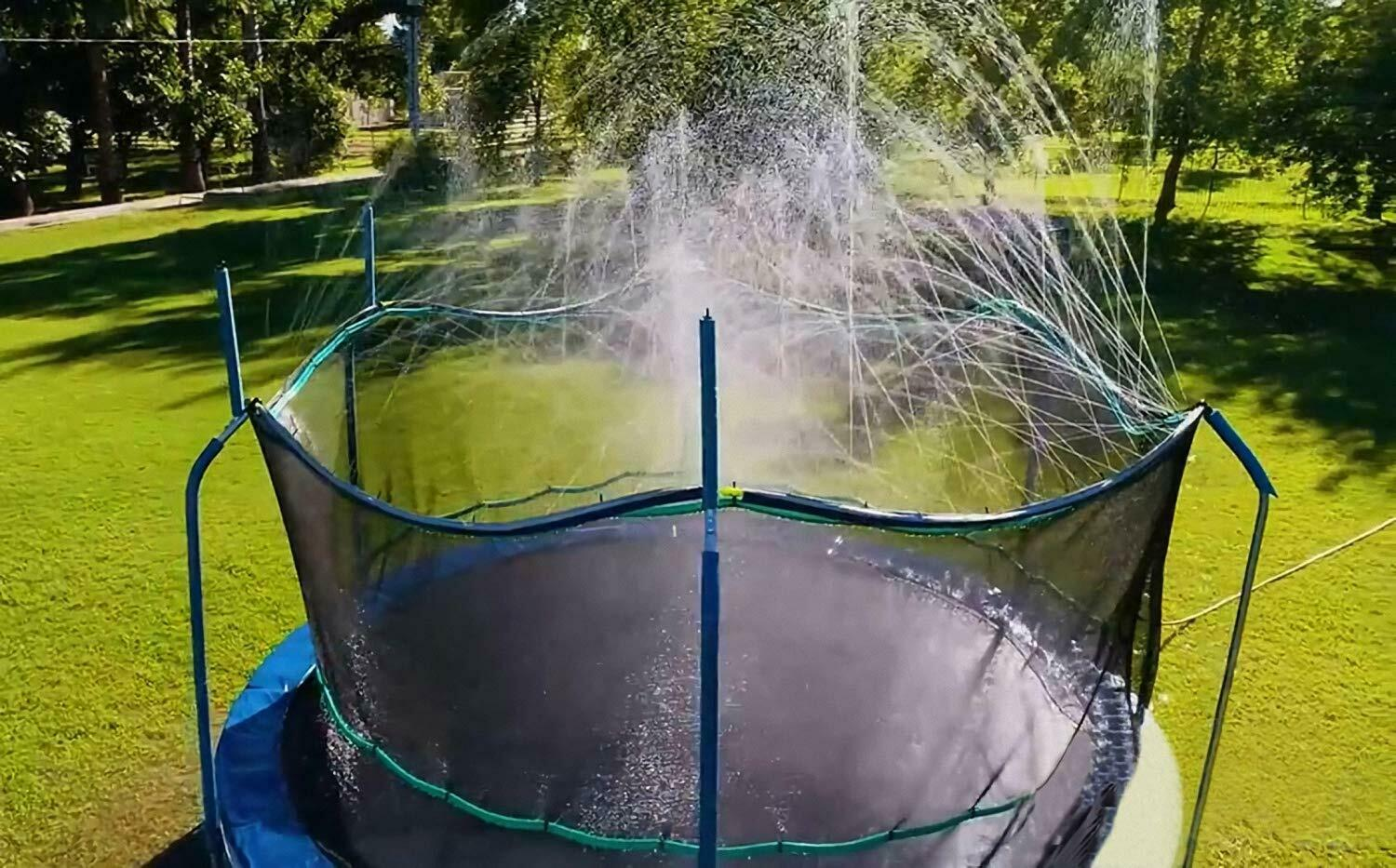 trampoline waterpark fun summer fun water cooling