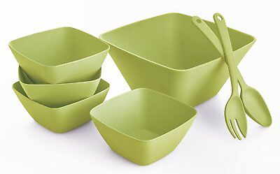 Bambootiful BT7601 7 Piece Bamboo Leaf Square Salad Bowl Serving Set, Green Bamboo Leaf Bowl