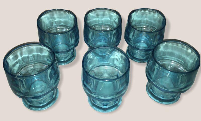 Six (6) Anchor Hocking GEORGIAN TURQUOISE BLUE Glasses/Tumblers