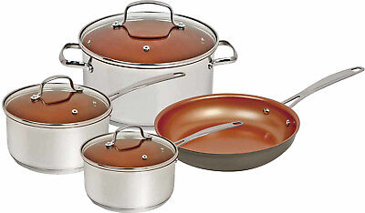 "NuWave Duralon Ceramic Nonstick 7-Piece Cookware Set with 12"" Frying Pan"