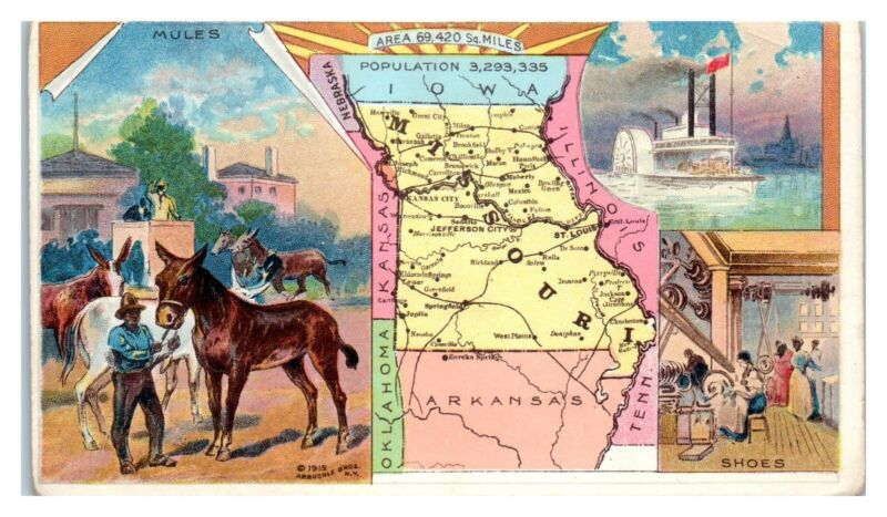 1915 Missouri Map Mules Shoes Steamboat Arbuckles Trade Card *VT7