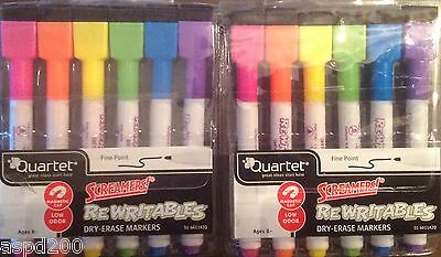 Quartet ReWritables Screamers Dry-Erase Markers Fine Pt.  6 per Pack-Lot of 2
