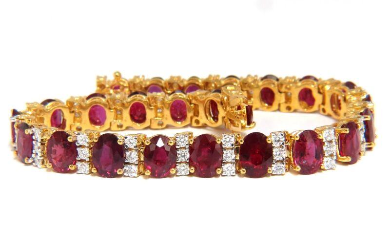 21.86ct Natural Fine Vivid Red Ruby Diamonds Tennis Bracelet Classic+