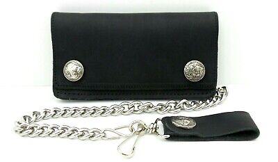 Black Leather Chain Wallet Buffalo Nickel Snaps 6