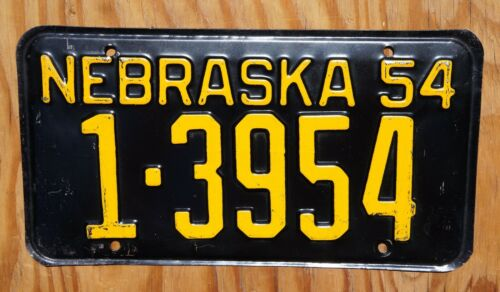 1954 Nebraska License Plate # 1 - 3954