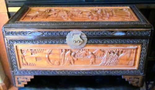 Vintage Asian Heavily Carved Wood Cedar Storage Chest Trunk mid century design