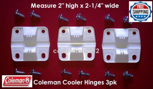 3 PK PLASTIC NEW GENUINE COLEMAN COOLER 3 HINGES 12 SCREWS #5256-1851