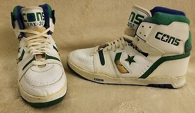 Vintage 80S Converse Cons Erx 200 White Green Basketball Mens Shoes Size 15
