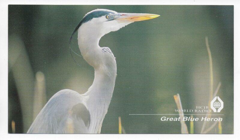 QSL HCJB World Radio Quito Ecuador 1998 Great Blue Heron Duane Birkey DX SWL