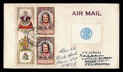 DR WHO 1984 BELIZE COROZAL AIRMAIL TO CANADA FORWARDED TO USA BLOCK  g18322