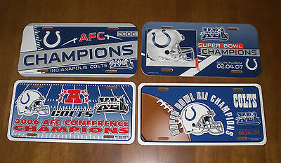 2 COLTS SUPER BOWL XLI CHAMPIONS & 2 COLTS 2006 AFC CHAMPS LICENSE PLATES