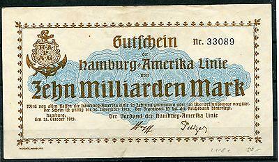 Hamburg Amerika Linie10 Milliarden Mark Großnotgeld vom 25.10.1923