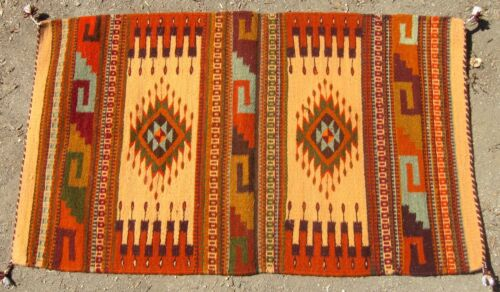 OAXACAN CARPET RUG - HAND LOOMED WOOL, NATURAL PIGMENTS - MEXICAN ZAPOTEC