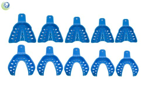Dental Plastic Edentulous Disposable Impression Trays Assorted Autoclavable 10PC