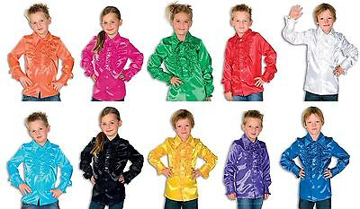 Rüschen Satin Hemd Kinder Discohemd Hippie Disco Kostüm Rüschenhemd Party