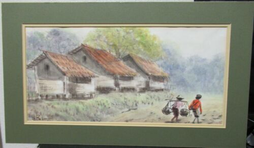 E.RALM VIETNAM VILLAGE ORIGINAL WATERCOLOR LANDSCAPE PAINTING