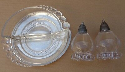 Dish Glass Divided Pearls Depression Glass  with Pearl Salt Pepper Set