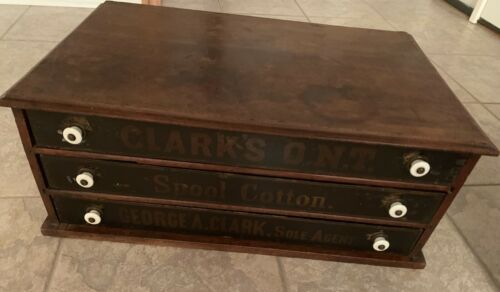 Antique Coats Spool Cabinet Spool Chest Original