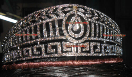 VINTAGE ANTIQUE ROSE CUT DIAMOND 18.44ct SILVER ANNIVERSARY WEDDING TIARA CROWN