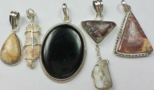 5 Vintage 925 Sterling Silver Agate Jasper Onyx Petrified Wood Pendants 50 Grams