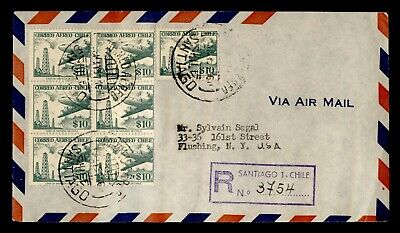 DR WHO 1957 CHILE SANTIAGO REGISTERED AIRMAIL TO USA C244669
