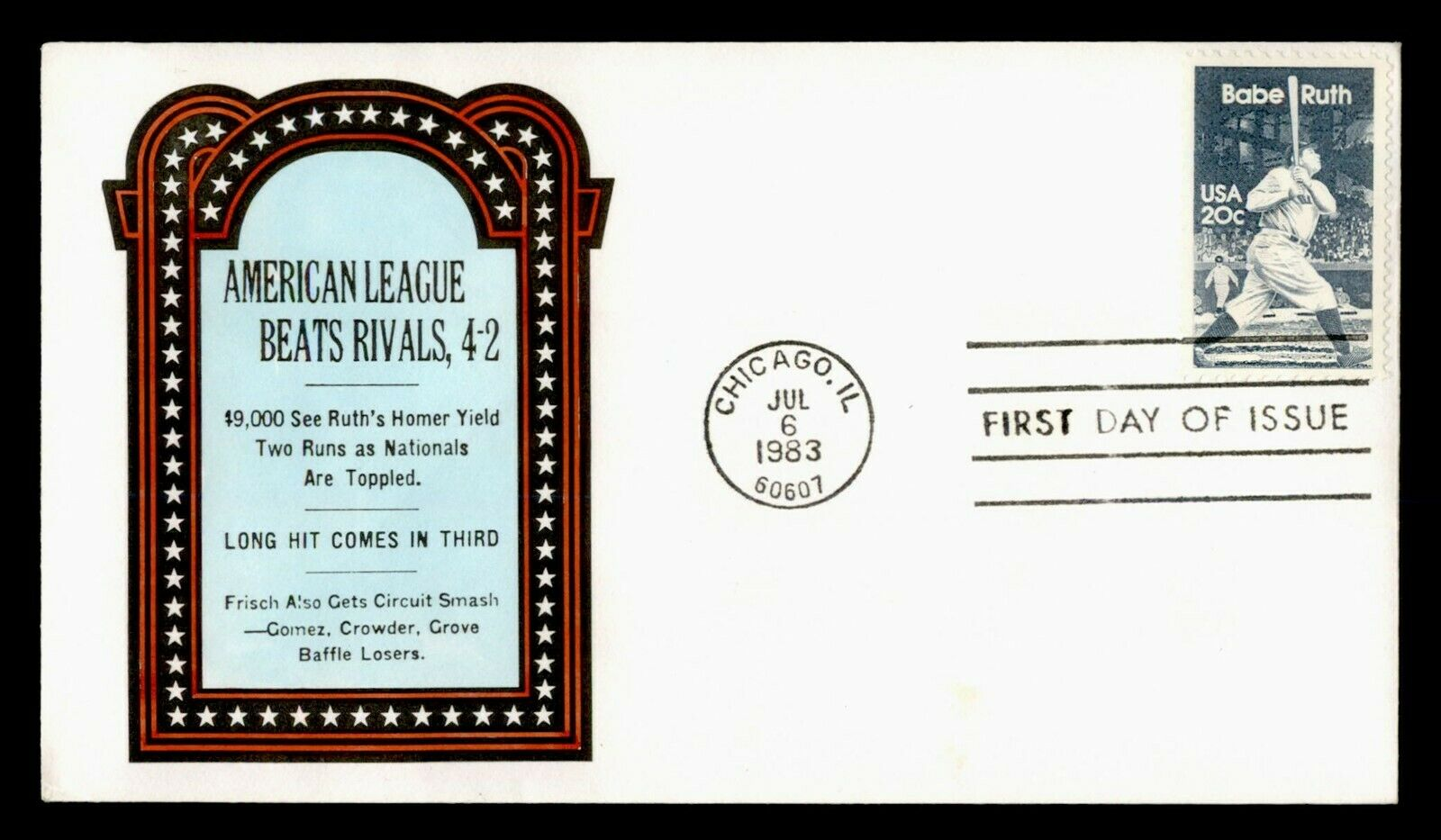 DR WHO 1983 FDC BABE RUTH BASEBALL PLAYER C218651 - $0.55