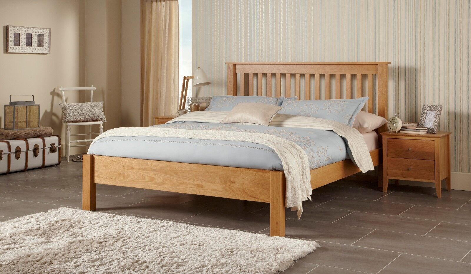 Frigg Solid Oak Bed Frame Wooden Chunky Design Modern Slatted Various Sizes Ebay