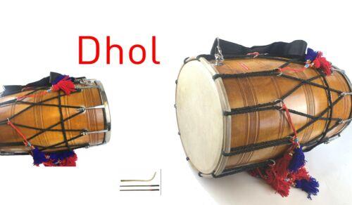 Dhol Handmade Indian Wood Quality Folk Musical Wood Musical Instrument
