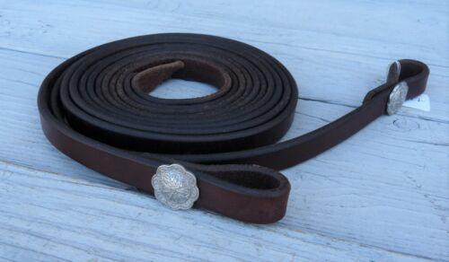 """Murphy Leather Dark Oil Split Reins Jeremiah Watt Stainless Conchos 3/4"""" 23527"""
