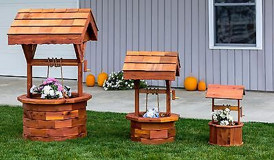 Amish Handcrafted Cedar Wishing Well Small, Medium, Large Garden Planter - Large Wishing Well
