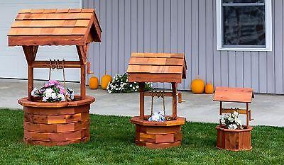 Amish Handcrafted Cedar Wishing Well Small, Medium, Large Garden Planter - Large Wishing Well