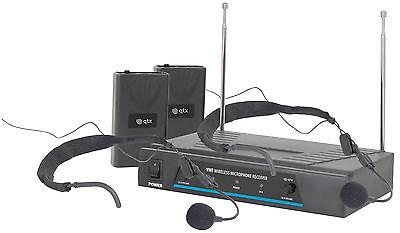 QTX VHF Dual Headset Microphone Wireless Radio Microphone Karaoke VN2 *B Stock*